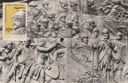 ARCHAEOLOGY, TRAJAN'S COLUMN DETAIL, DACIAN- ROMAN WARS, CM, MAXICARD, CARTES MAXIMUM, 1980, ROMANIA - Archéologie