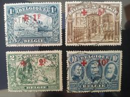 4 Timbres Belgique 1918/1923 N° Yvert 160 , 162, 163 TB Belgique Oblitéré + 1f 10f 2f 5f En Rouge - Gebruikt