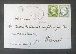 Lettre N° 20 + 37 Ob. GC 3071 + Type 17 Quintin Du 28/10/71 Cotes Du Nord Cachet OR ( Cartravers) Très Jolie Pièce TB) - 1871-1875 Ceres