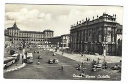 10.490 - TORINO PIAZZA CASTELLO ANIMATISSIMA AUTO CAR AUTOBUS VESPA 1956 - Piazze