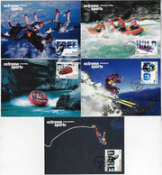New Zealand 2004 Complete Series Of 5 Postal Stationery Used As Maximum Card Extreme Sports - Otros