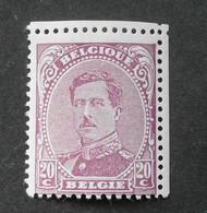 1915 : Cob 140a * : 20c Lilas Vif( Trace De Charnière D1) Voir Verso - 1915-1920 Albert I.
