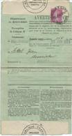 AVERTISSEMENT FISCAL 1933 AVEC CACHET HOROPLAN COLMAR 2 GARE - Alsace Lorraine