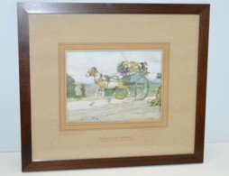 LITHOGRAPHIE PICKWICK COPYRIGHT C. ALDIN MISTER STIGGINS DRIVE WITH TONY WELLER COLLECTION VITRINE DECO - Lithographies