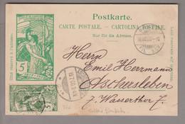 CH UPU 1900-07-18 Basel 5Rp. Ganzsache +5Rp. UPU Zu#77A Nach Aschersleben - Covers & Documents