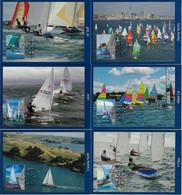 New Zealand 2008 Complete Series 6 Postal Stationery Used As Maximum CardNautical Sports YachtingSailingyellowish Dot - Vela