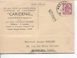 REF4413/TP 713 S/CP CARIDENG Fabrication Articles Caoutchouc Lanaeken C.Hasselt 1946 + Griffe LANAKEN > St.Servais Namur - Lineari