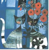 Chat   Dessin  Illustration Rosina Wachtmeister Carte Double Format 16x16 Cm - Gatti