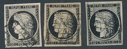 EB-131: FRANCE: Lot Avec N°3 Obl (3) 1er Choix à Beaux - 1849-1850 Ceres