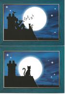 Chat   Dessin  Illustration Catchou Double Format 18 X11.5cm Lot De 2 - Gatti