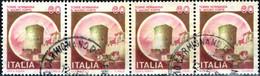 ITALIA, ITALIE, ITALY, CASTELLO SAN MAURO FORTE,  1980, 4*60 L., USATO, STRISCIA DI 4 Sassone: IT 1509, Scott:IT 1413 - 1971-80: Usados