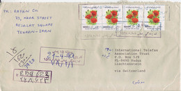 IRAN  R-Luftpostbrief   Registered Airmail Cover 1999 To Liechtenstein    Blumen  Flowers - Iran