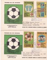 ECUADOR. CAMPEONATO MUNDIAL DE FUTBOL AGENTINA 78, CHAMPIONNAT DU MONDE DE FOOTBALL. FDC ENVELOPPES SÉRIE COMPLÈTE LILHU - 1978 – Argentine