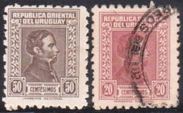 1936 URUGUAY New Yv 498A (used) - 498B (mint)  - Gral. Artigas - Uruguay