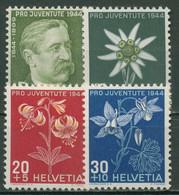 Schweiz 1944 Pro Juventute Alpenblumen (II), Numa Droz 439/42 Postfrisch - Nuevos