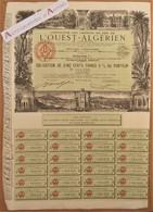 Compagnie Des Chemins De Fer De L'ouest Algérien - Très Rare Obligation Illustrée Paris 1942 Algérie - Titre Action Ww2 - Railway & Tramway