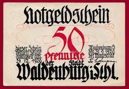 Allemagne 1 Notgeld  De 50 Pf Stadt Waldenburg  (RARE--Silésie--Pologne---Walbrzych )  Dans L 'état   Lot N °139 - Colecciones