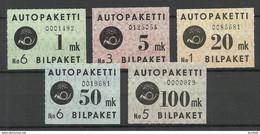 FINLAND FINNLAND 1949/1950 Autopaketti Auto-Paketmarken Michel 1 - 5 * - Paketmarken