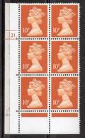 GREAT BRITAIN 1990 10p Dull Orange Type II - Série 'Machin'