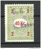 DENMARK Dänemark 40 Kr Fakturastempel Tax Steuermarke O - Steuermarken