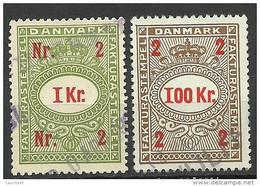 DENMARK Dänemark 1 Kr & 100 Kr Fakturastempel Tax Steuermarke O - Steuermarken