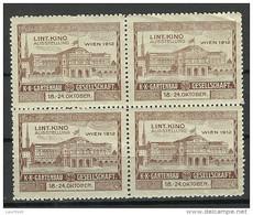 ÖSTERREICH AUSTRIA 1912 Kinoausstellung Wien In 4-Block MNH - Nuovi