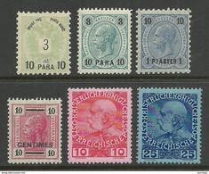 ÖSTERREICH Austria 1888-1908 In Levante And Crete , 6 Stamps, * - Nuovi