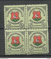 Österreich Austria Ca 191 SCHWANBERG Verschönerungsverein Spendemarke Als 4-Block MNH/MH - Nuovi