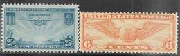 US  1934-5  Sc#C19   6c   Airmail  MLH & #C20 MNH  2016 Scott Value $4.90 - 1b. 1918-1940 Nuovi