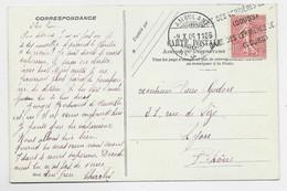 SEMEUSE 10C LIGNEE GRIFFE GARE DES VERRIERES DE (DOUBS) + AMBULANT SUISSE 9.X.06 CARTE DESSINEE MUSEE DU LOUVRE RARE - 1903-60 Semeuse Lignée