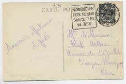 N°271 SEUL CARTE DAGUIN  MONTDIDIER FETE RENAISSANCE 7 JUIN ET 14 JUIN MONTDIDIER 1931 SOMME - Sellados Mecánicos (Publicitario)