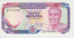 Zambia 50 Kwacha (1989-91) Pick 33b UNC - Zambia