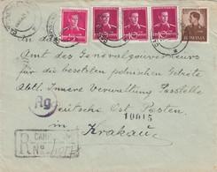 GG Rumänien: Einschreiben An Poststelle Innere Verwaltung DPO Krakau, Zensur - Bezetting 1938-45