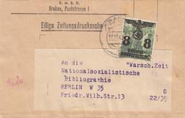 GG Zeitungsdrucksache Streifband Krakau An NS-Bibliographie Berlin - Occupation 1938-45