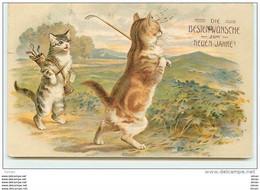 N°8019 - Carte Fantaisie - Chats Jouant Au Golf - Cats