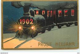 N°15677 - Prosit Neujahr 1902 - Train Dans La Nuit - Anno Nuovo