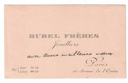 RUBEL FRERES JOAILLIERS 16 AVENUE DE L'OPERA PARIS - Visiting Cards