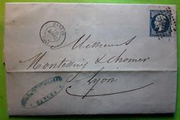 Lettre De GANGES, Hérault,  Pc 1367 / Empire No 14, 10 Mars 1860 > Lyon - 1849-1876: Periodo Clásico
