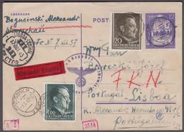 1943. GENERALGOUVERNEMENT. 12 Gr. POSTKARTE With 20 Gr. + 1 Zl. Hitler From WARSCHAU ... (Michel 77 + 86) - JF421014 - Occupation 1938-45