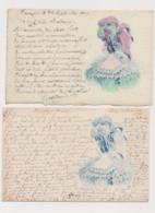 2 Cartes Fantaisie Dessinées / Jeune Femme Avec Grand Chapeau - Women