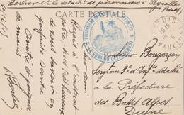 Cachet Prisonniers De Guerre De PEYROLLES Bouches Du Rhône 10/12/1915 Carte Postale à Digne Basses Alpes - Guerra Del 1914-18