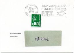 PAS De CALAIS - Dépt N° 62 = HARNES 1976 =  FLAMME à DROITE =  SECAP ' CARRIERES PTT / Pour Votre Avenir ' - Mechanical Postmarks (Advertisement)