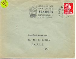 PAS De CALAIS - Dépt N° 62 = HENIN-LIETARD 1955 = FLAMME SECAP  Illustrée ' CHARBON / COMBUSTIBLE NATIONAL ' - Annullamenti Meccanici (pubblicitari)
