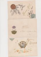3 Cartes Fantaisie Gaufrées / Portrait De Femme Sur Médaille Et Médaillons - Women