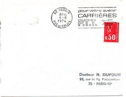 PAS De CALAIS - Dépt N° 62 = HESDIN 1974 =  FLAMME à DROITE =  SECAP ' CARRIERES PTT / Avenir ' - Annullamenti Meccanici (pubblicitari)