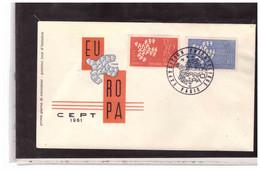 FDC7530  -  PARIS   16.9.1961  / FDC  FRANCIA   EUROPA CEPT 1961  -  MICHEL Nr.  1363/1364 - 1961