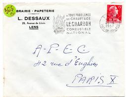 PAS De CALAIS - Dépt N° 62 = LENS 1957 = FLAMME Non Codée = SECAP  Illustrée 'CHARBON = Combustible + Chauffage' - Mechanical Postmarks (Advertisement)