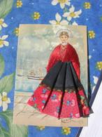 Carte Fantaisie Brodee 10x15 Fils De Soie Et Tissus Souvenir De L Ile Aux Moines En 96  TBE Par Monchaux - Ricamate