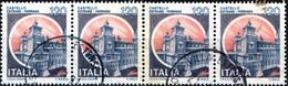 ITALIA, ITALIE, ITALY, CASTLES,FERRARA,1980, 4*120 L., USATO, STRISCIA DI 4, Sassone: IT1709I, Scott:IT 1416, Yt:IT 1441 - 1971-80: Usados