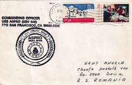 A8129- US NAVY ASPRO STAMP, COMMANDING OFFICER SAN FRANCISCO, OAKLAND 1983 USA AIRMAIL STAMPS, SENT TO DEVA ROMANIA - Brieven En Documenten